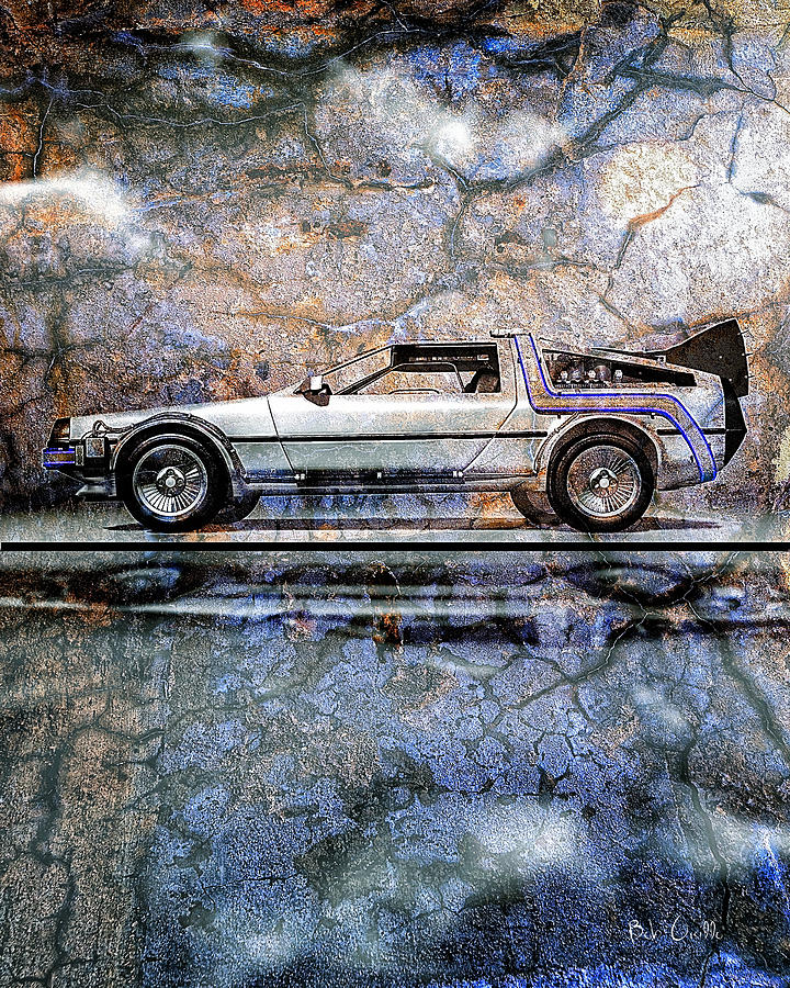 Time Machine Or The Retrofitted Delorean Dmc-12 Digital Art  - Time Machine Or The Retrofitted Delorean Dmc-12 Fine Art Print