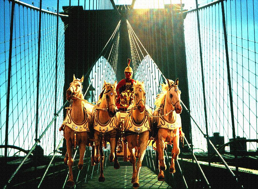 Time Machine - Roman Horses On Brooklyn Bridge New York - Fantasy Art Photograph  - Time Machine - Roman Horses On Brooklyn Bridge New York - Fantasy Art Fine Art Print