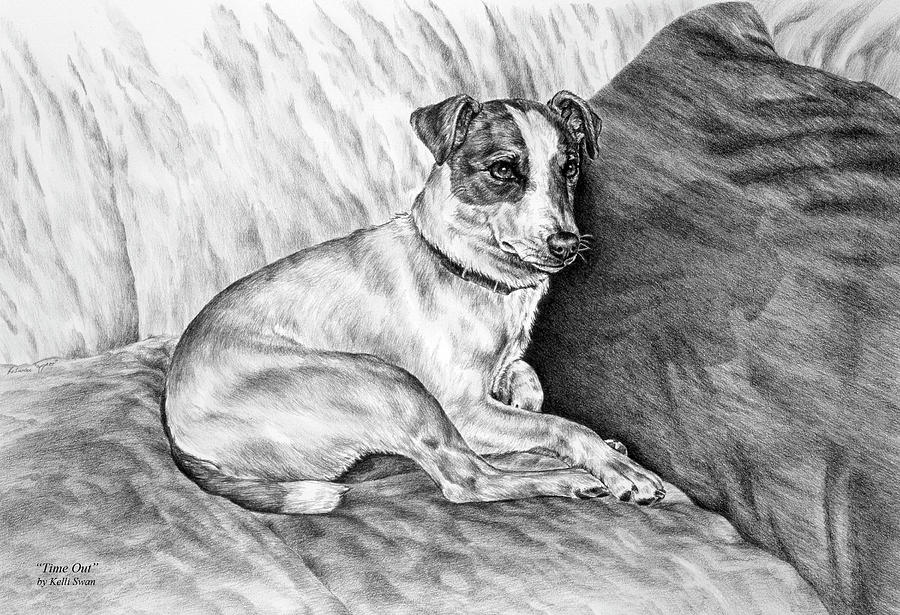 Time Out - Jack Russell Dog Print Drawing  - Time Out - Jack Russell Dog Print Fine Art Print