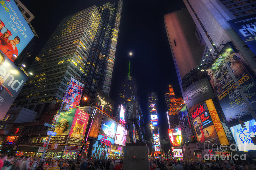 Times Square Moonlight Photograph  - Times Square Moonlight Fine Art Print