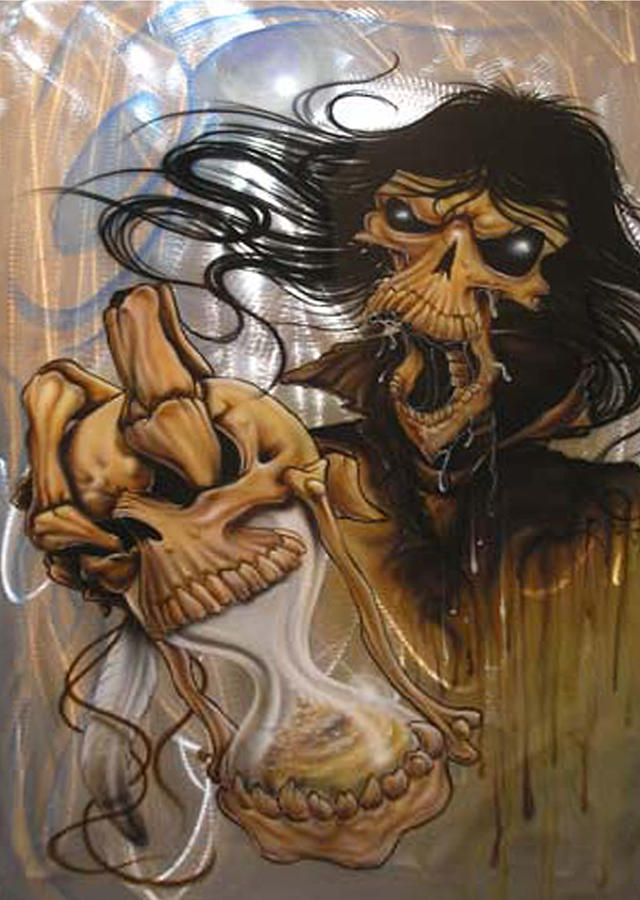Skull Painting - Times Up by Mike Royal