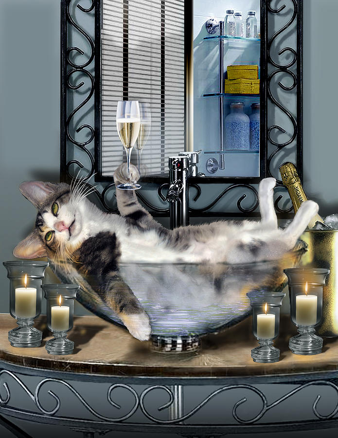 Tipsy Kitty Taken A Bubble Bath By Candlelight  Painting  - Tipsy Kitty Taken A Bubble Bath By Candlelight  Fine Art Print