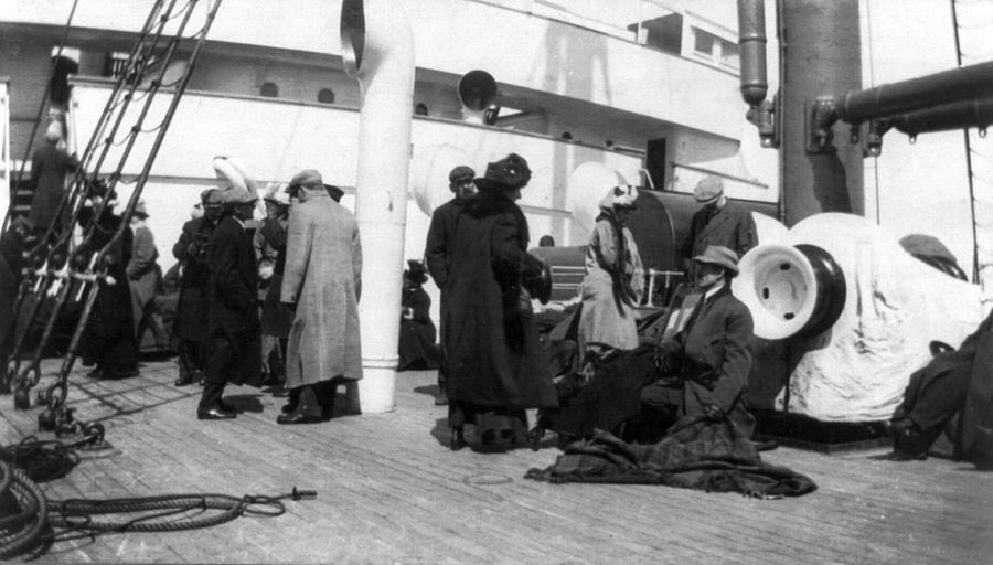 Titanic, Survivors Aboard Rescue Ship Photograph