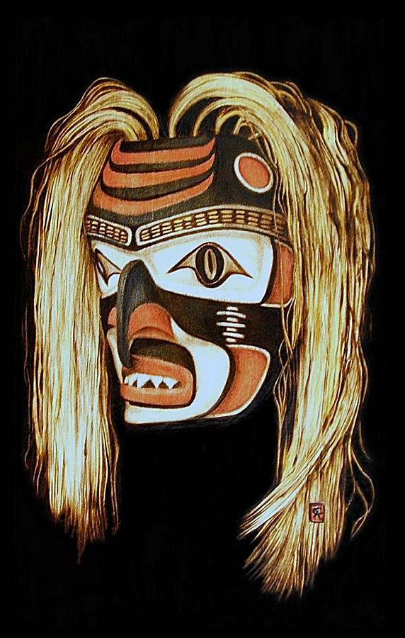 Tlingit Shark Mask In Color Pyrography
