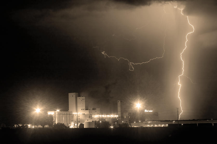 To The Right Budweiser Lightning Strike Sepia  Photograph  - To The Right Budweiser Lightning Strike Sepia  Fine Art Print