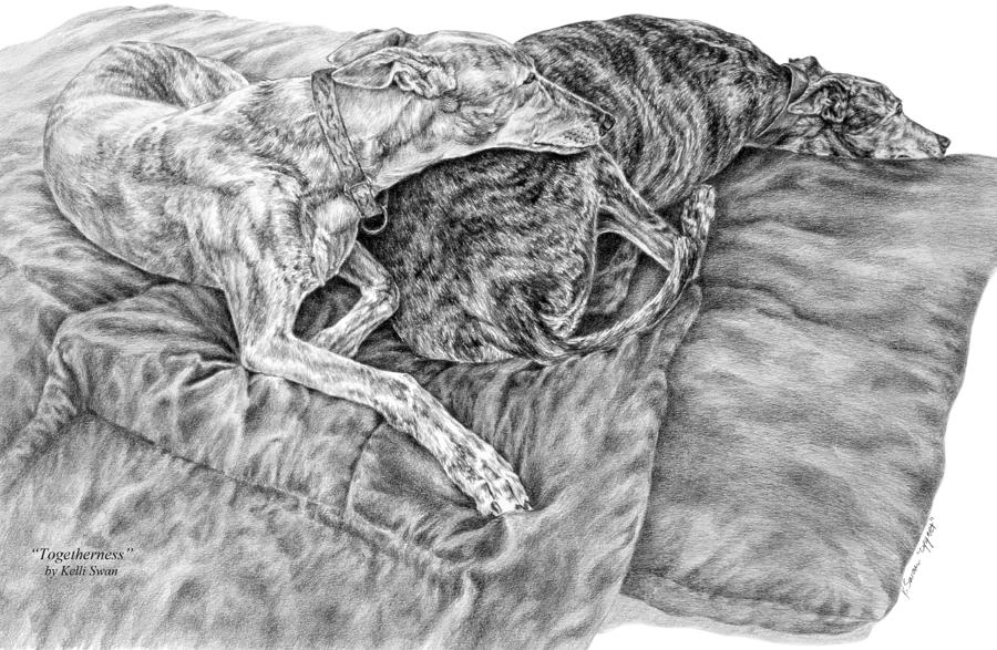 Togetherness - Greyhound Dog Art Print Drawing  - Togetherness - Greyhound Dog Art Print Fine Art Print