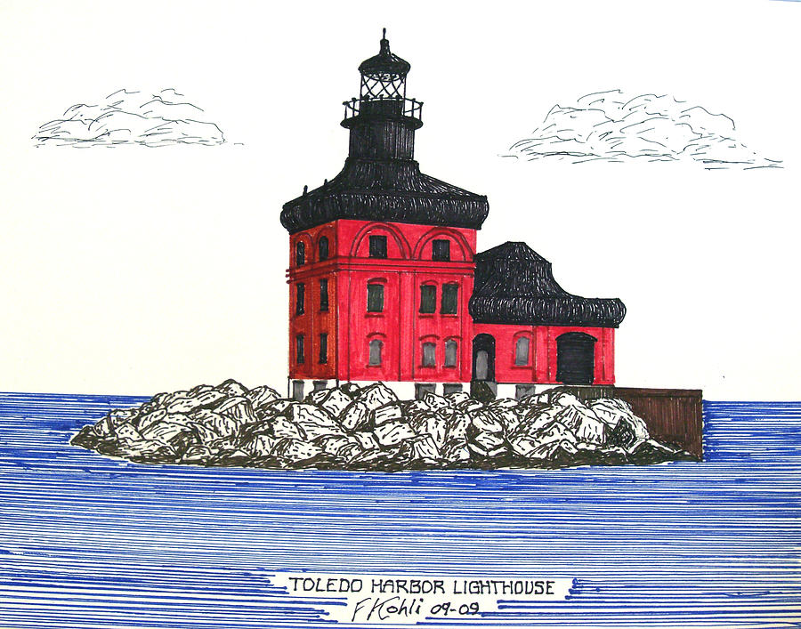 Toledo Harbor Lighthouse Drawing  - Toledo Harbor Lighthouse Fine Art Print