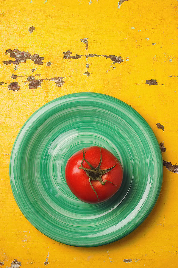 Tomato On Green Plate Photograph