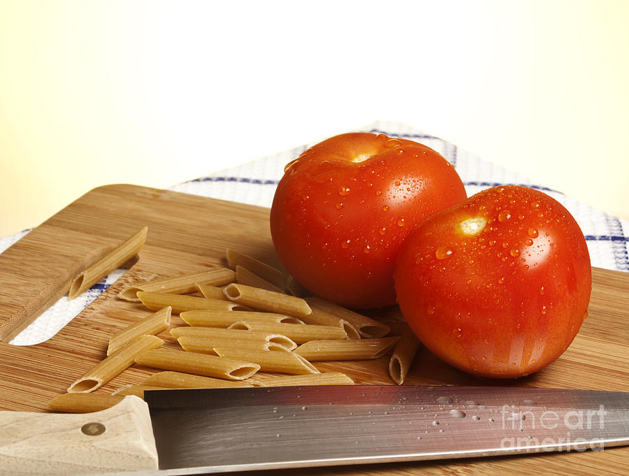 Tomatoes Pasta And Knife Photograph  - Tomatoes Pasta And Knife Fine Art Print