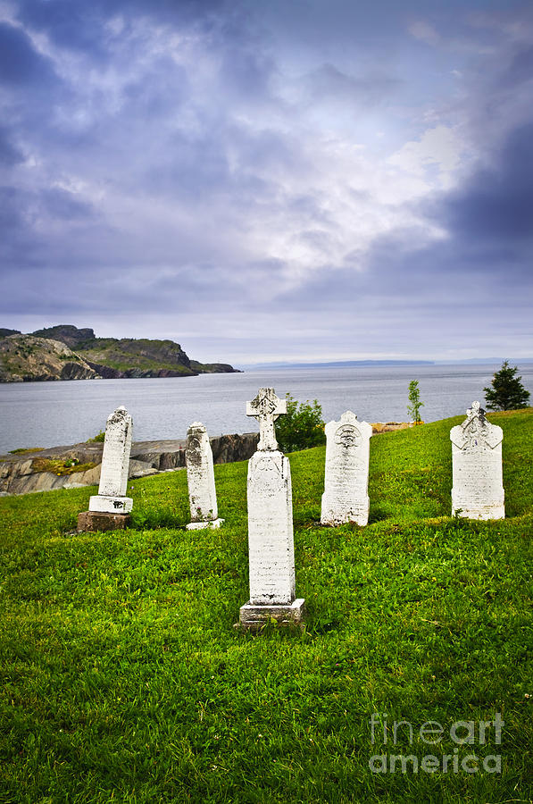 Graveyard Photograph - Tombstones Near Atlantic Coast In Newfoundland by Elena Elisseeva