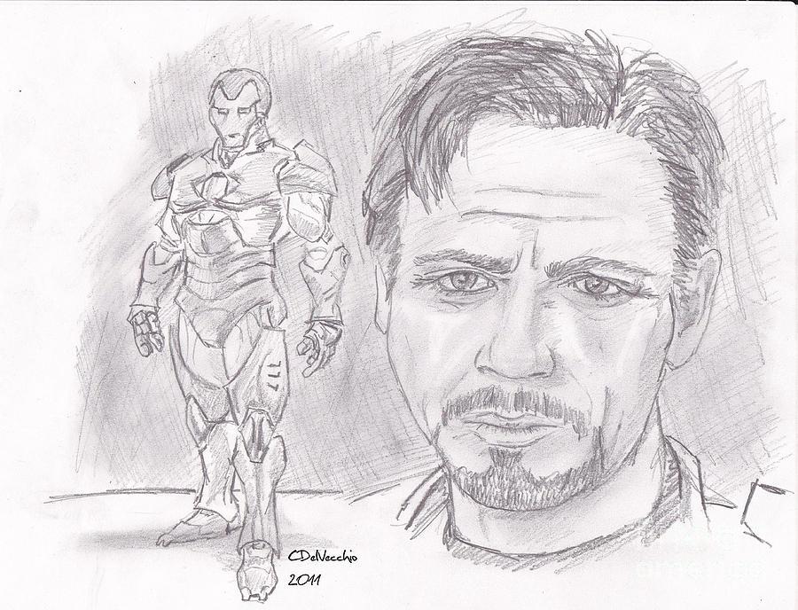 Drawing - Tony Stark- Ironman by Chris  DelVecchio