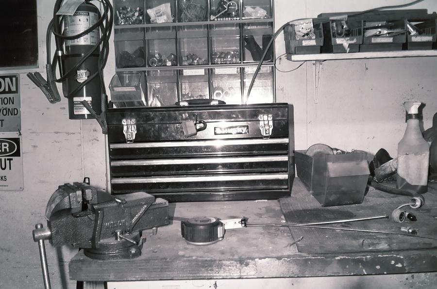 Tool Box And Clamp Work Area Photograph