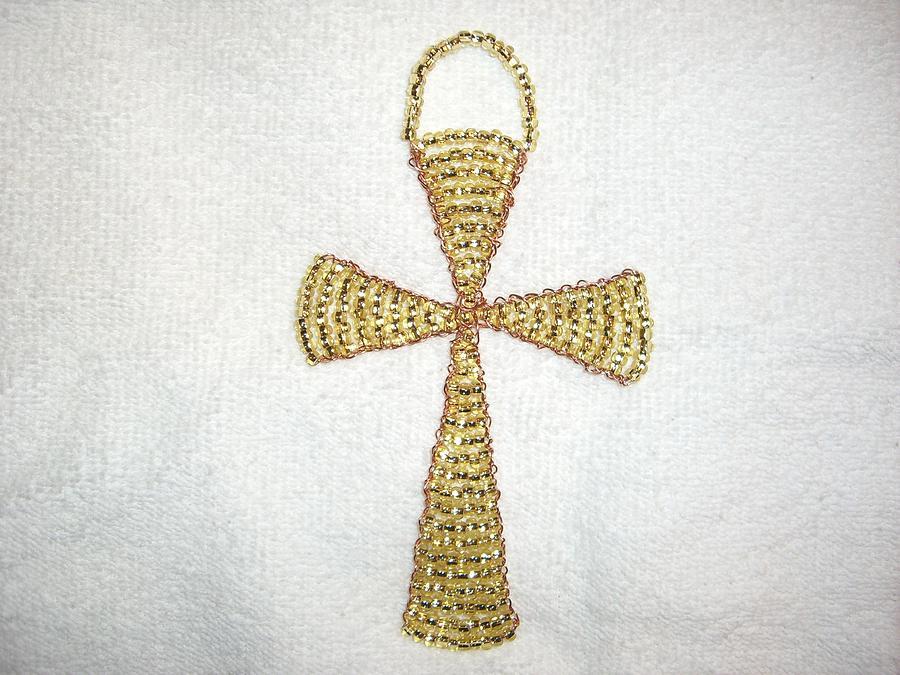 Topaz Wall Hanging Glass Beaded Suncatcher Copper Cross Sculpture