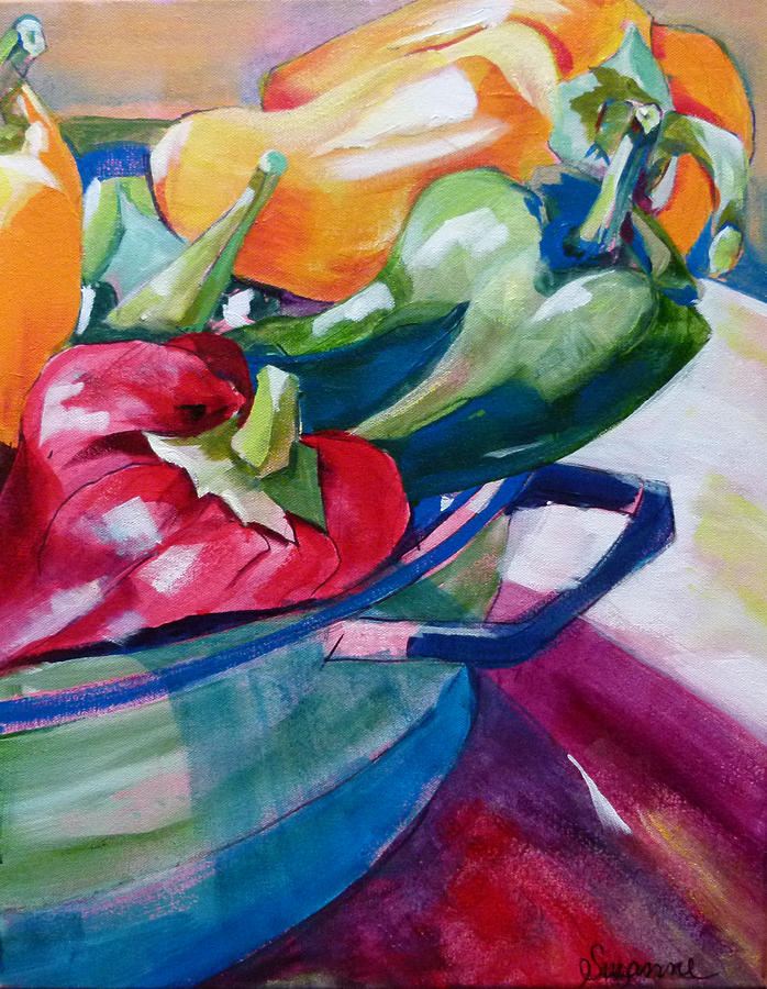 Toppling Bell Peppers Painting  - Toppling Bell Peppers Fine Art Print