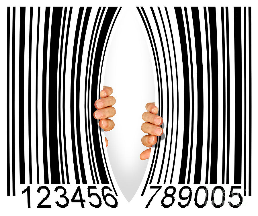 Torn Bar Code Photograph  - Torn Bar Code Fine Art Print