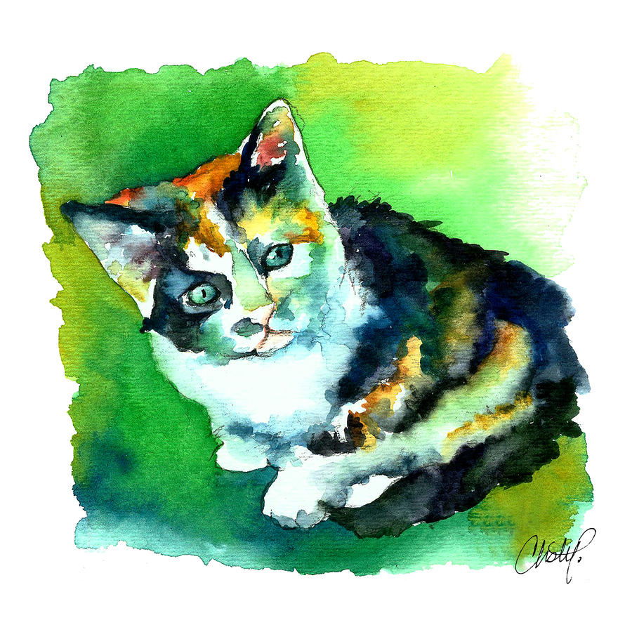 Tortoise Shell Kitten Painting  - Tortoise Shell Kitten Fine Art Print
