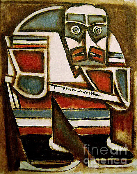 Totem Hockey Player Painting