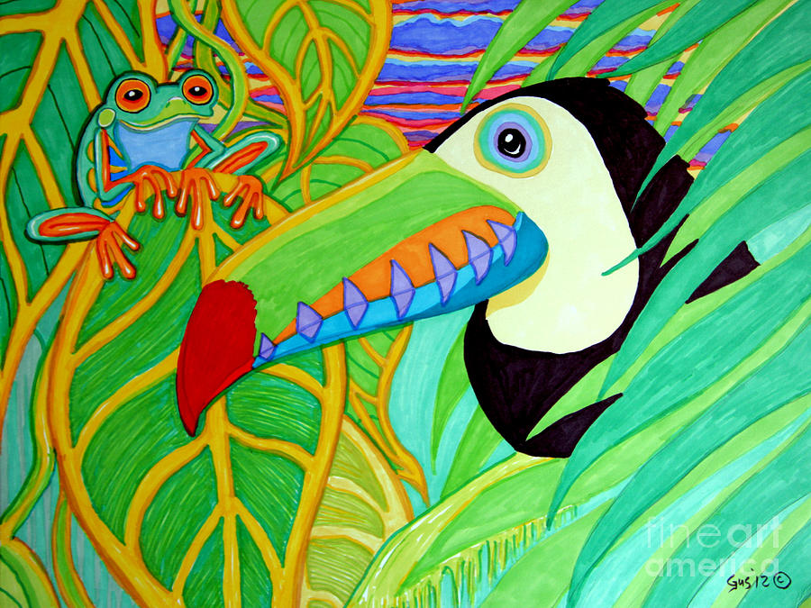 Toucan And Red Eyed Tree Frog Drawing  - Toucan And Red Eyed Tree Frog Fine Art Print