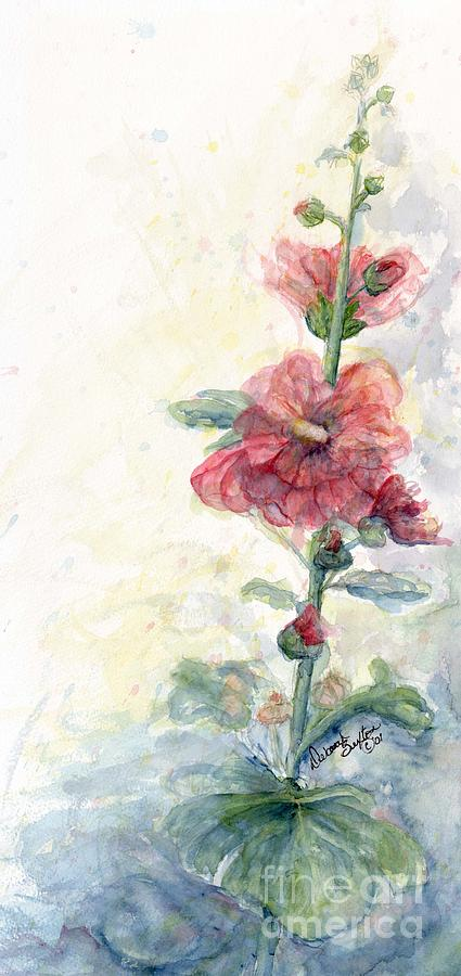 Touch Of Summer Hollyhocks Painting  - Touch Of Summer Hollyhocks Fine Art Print