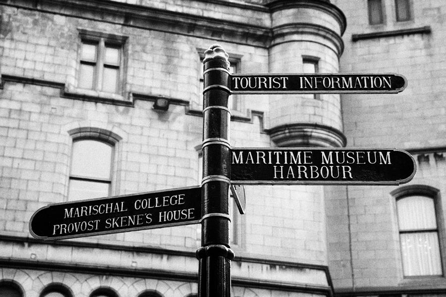 Tourist Photograph - Tourist Information Signs Directions Street Aberdeen Scotland Uk by Joe Fox