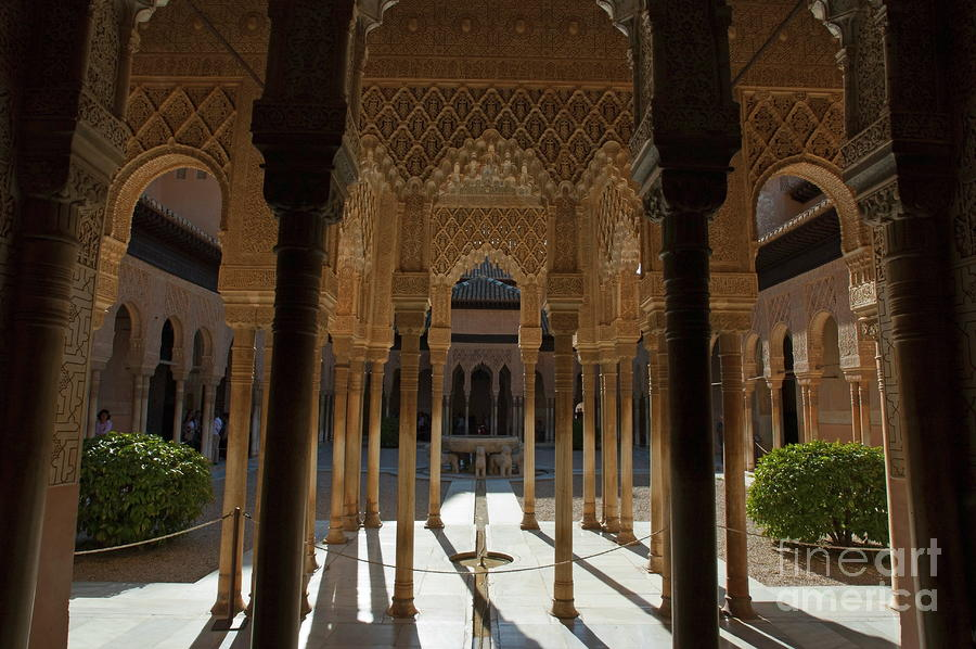 Tourists In The Courtyard In The Patio De Los Leones Area At Alhambra Photograph