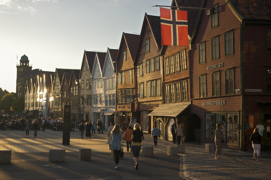 Tourists Walking In A Street In Bergen Photograph