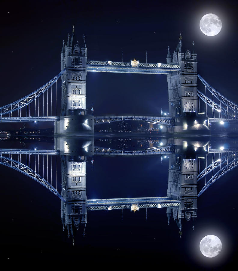 Tower Bridge In London By Night  Photograph