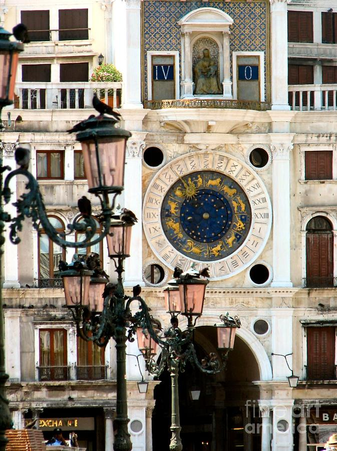 Tower Clock In Saint Marks Square Painting  - Tower Clock In Saint Marks Square Fine Art Print