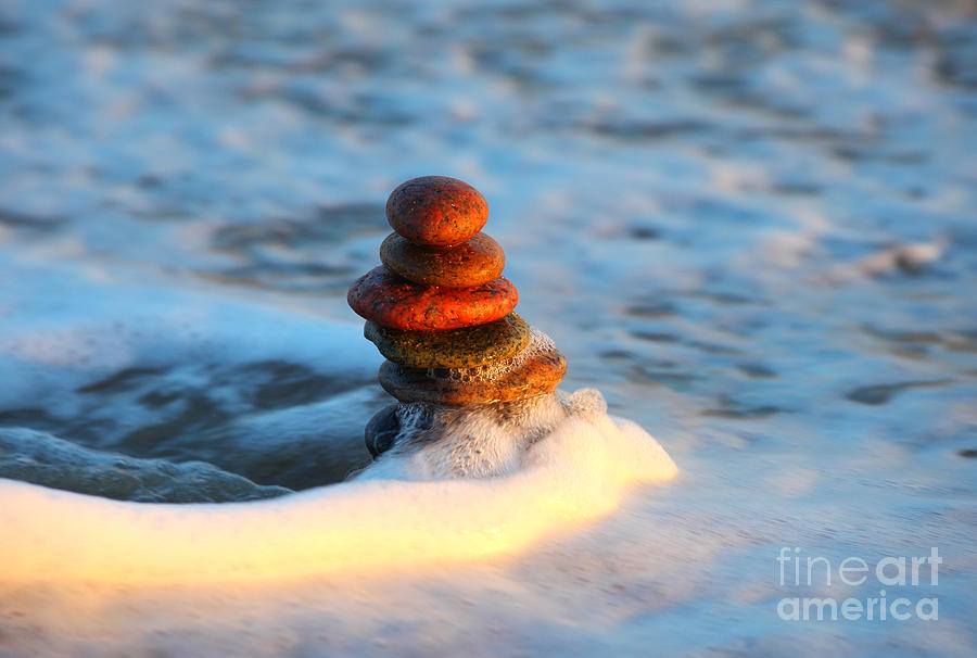 Tower Of Stones In The Sea Photograph  - Tower Of Stones In The Sea Fine Art Print