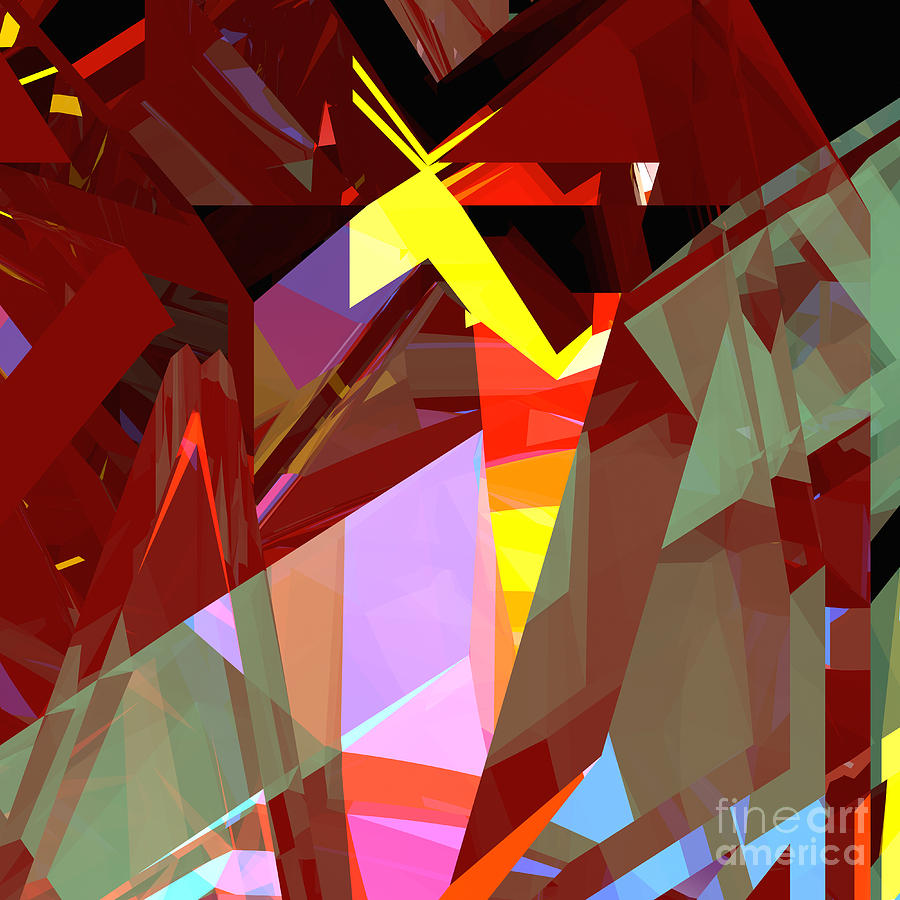Abstract Digital Art - Tower Series 20 Night House by Russell Kightley