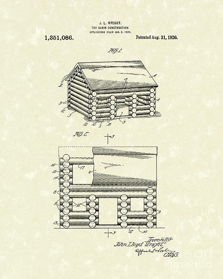 Toy Cabin 1920 Patent Art Drawing