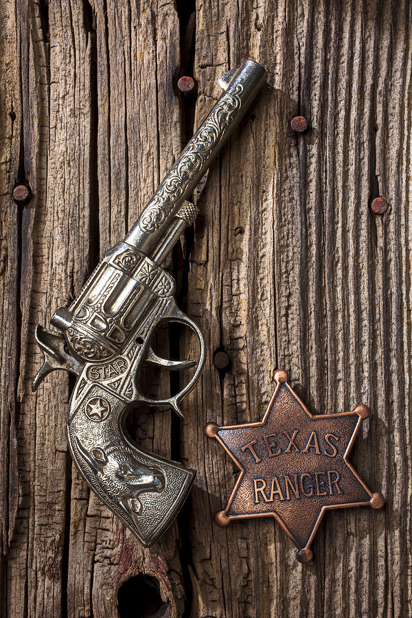 Toy Gun And Ranger Badge Photograph  - Toy Gun And Ranger Badge Fine Art Print
