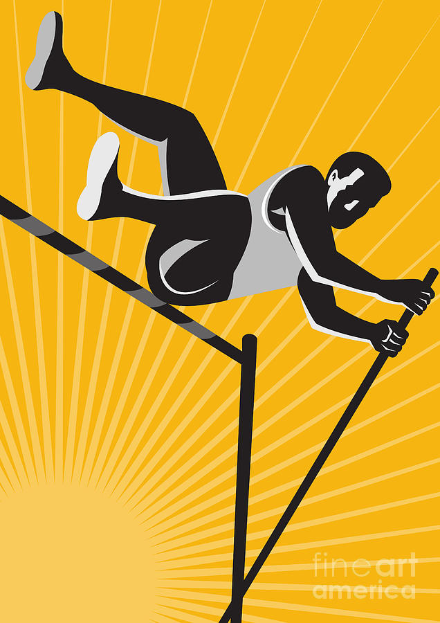 Track And Field Athlete Pole Vault High Jump Retro Digital Art