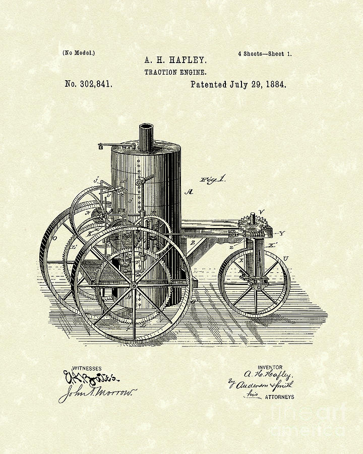 Traction Engine 1884 Patent Art Drawing