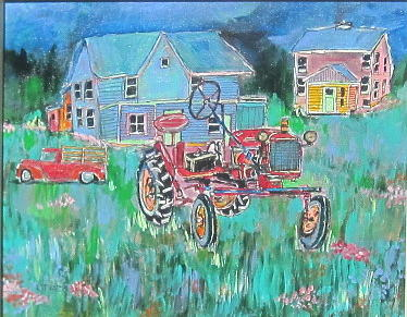 Tractor In Field Painting
