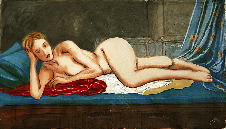 Traditional Modern Female Nude Reclining Odalisque After Ingres Painting