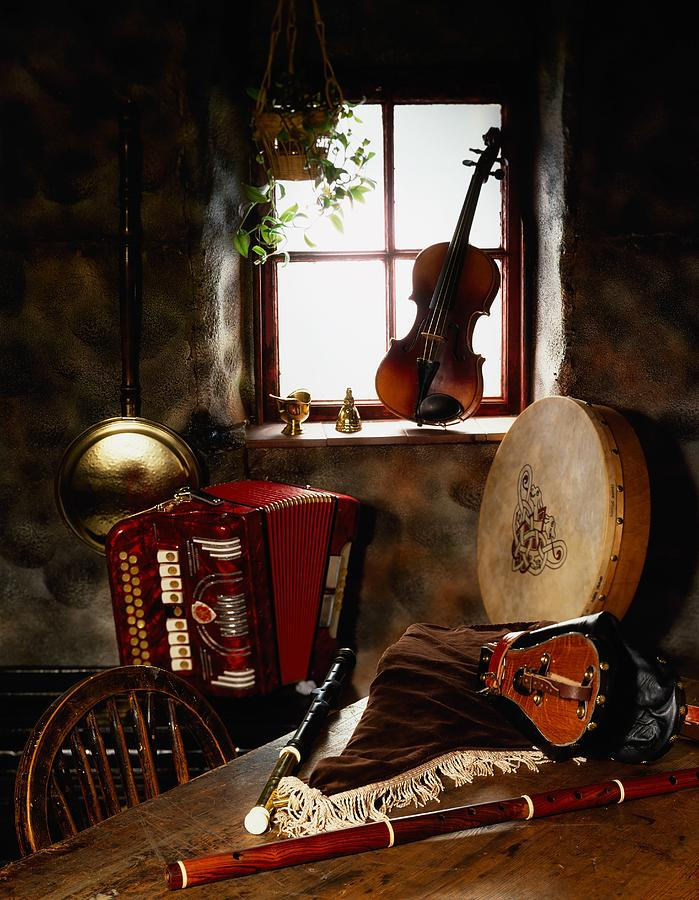 Traditional Musical Instruments, In Old Photograph  - Traditional Musical Instruments, In Old Fine Art Print