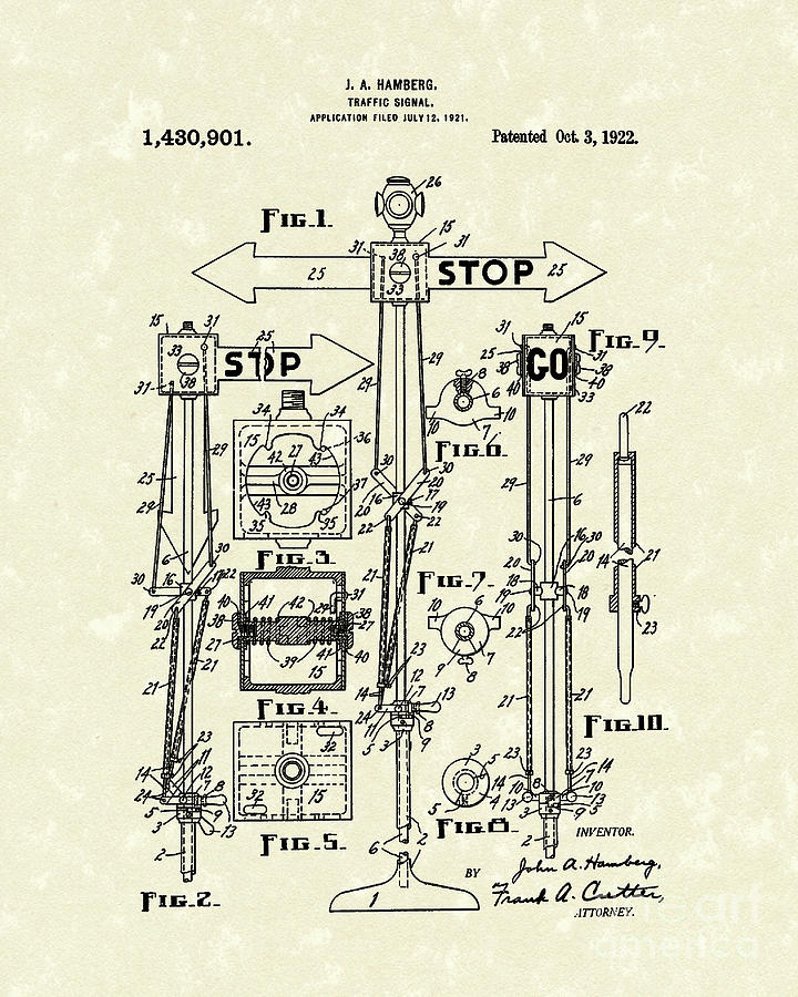 Traffic Signal 1922 Patent Art Drawing  - Traffic Signal 1922 Patent Art Fine Art Print