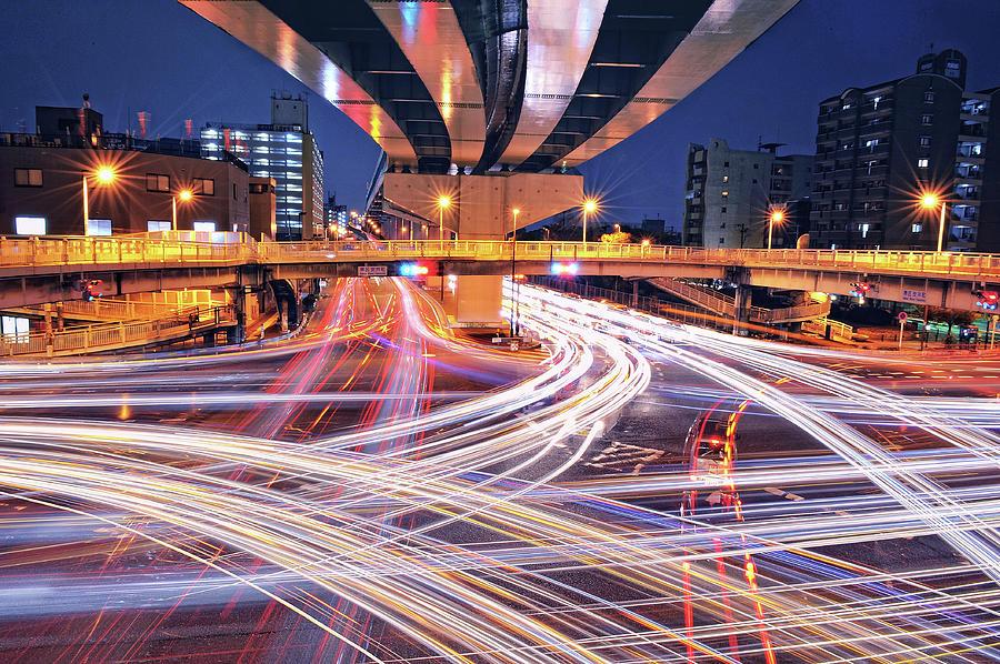Traffic Trails Photograph
