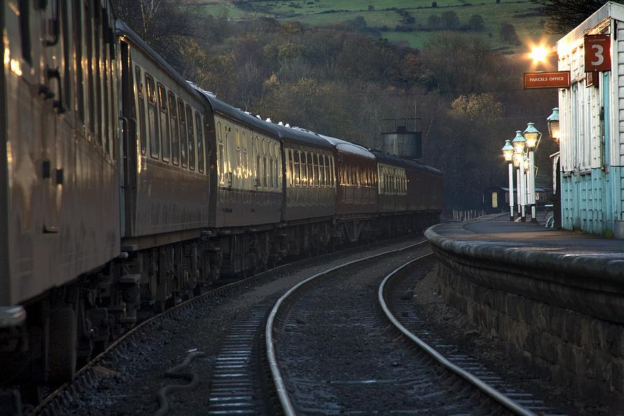 England Photograph - Train At Station At Dusk, Pickering by John Short