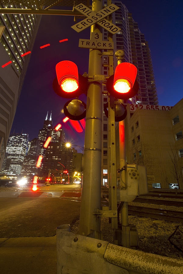 Train Crossing Lights At Dusk Photograph