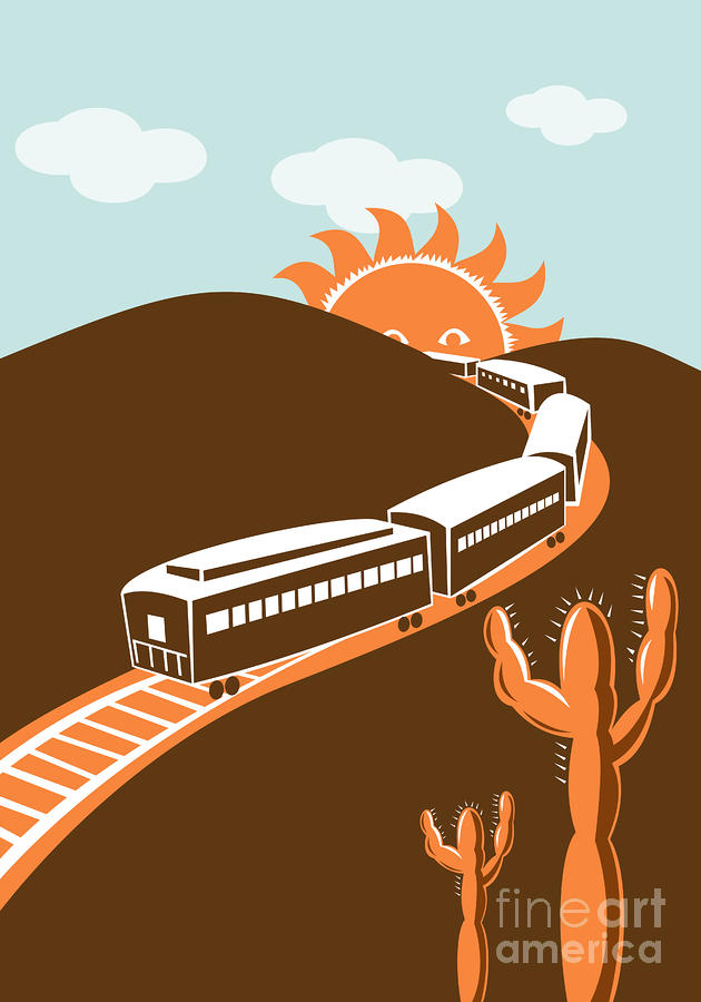 Train Desert Cactus Digital Art  - Train Desert Cactus Fine Art Print