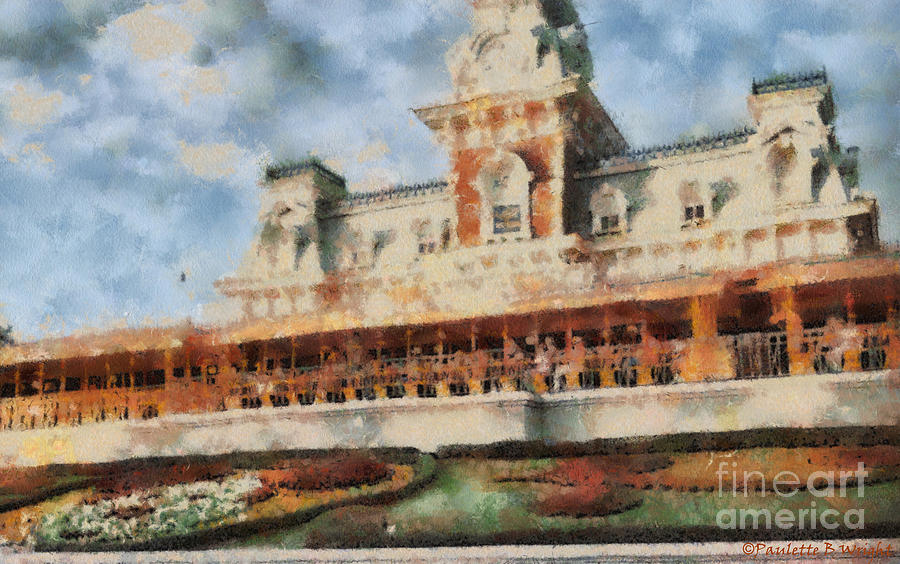 Train Station At Magic Kingdom Painting  - Train Station At Magic Kingdom Fine Art Print
