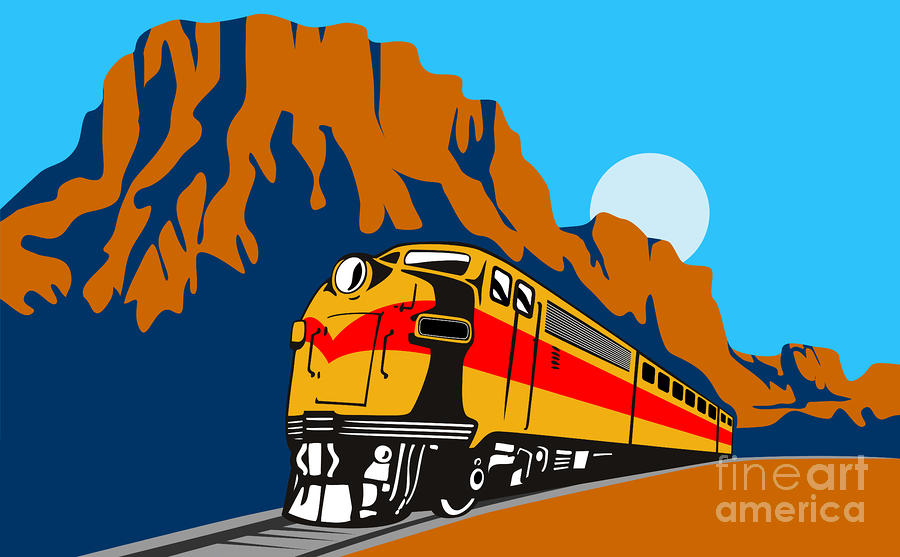 Train Traveling With Canyon Digital Art  - Train Traveling With Canyon Fine Art Print