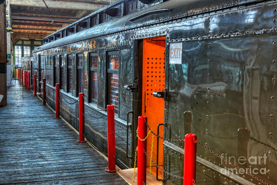 Trains - Side Of Rail Car In Round House Photograph  - Trains - Side Of Rail Car In Round House Fine Art Print