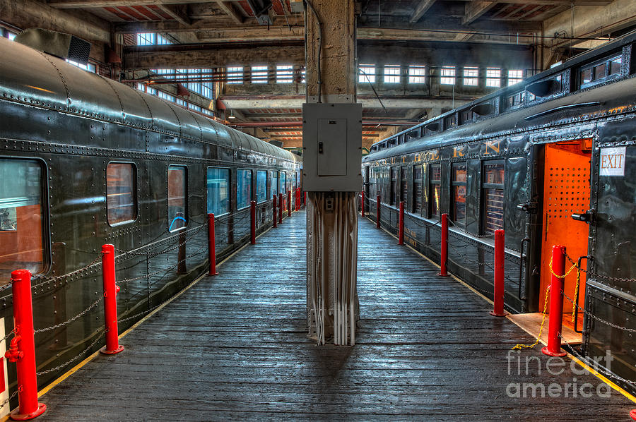 Trains - Two Rail Cars In Roundhouse Photograph