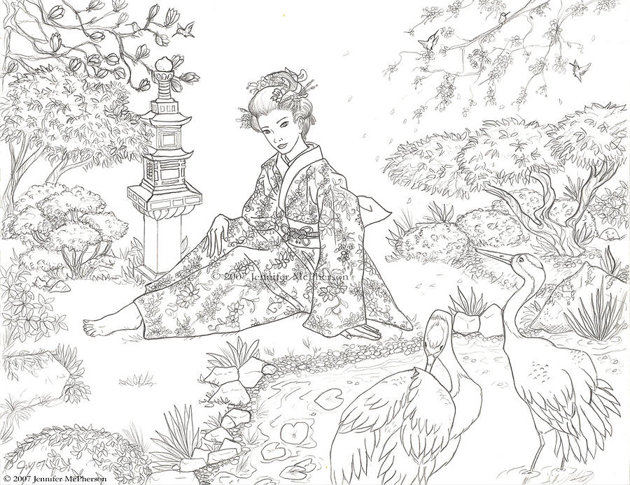 japanese garden coloring pages - photo #21