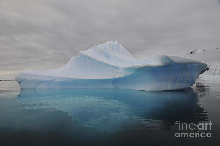 Translucent Blue Iceberg Reflection Photograph