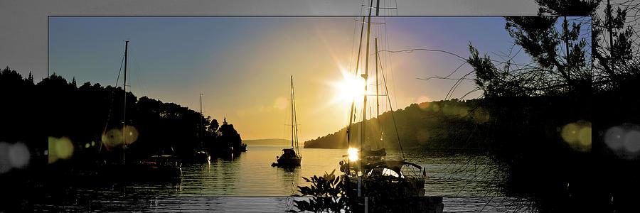 Improvisation Sunrise Deep_adept_preset@ggolovskoy Five Yacht Adriatic Sea Landscape Seascape Coastal View Stick Transparency Mind Reflection Blue Gallery Croatia Dalmstia Island Brach Bobovisce_od_moru  Photograph - Transparency Mind by Gennadiy Golovskoy