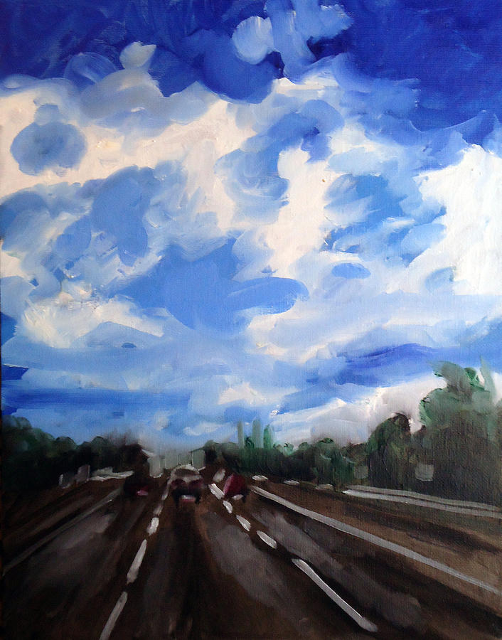 Traveling On The Highway Painting  - Traveling On The Highway Fine Art Print